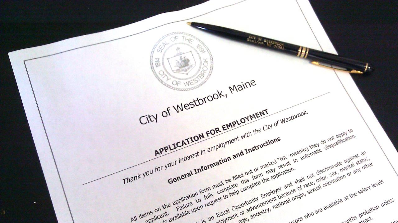 City of Westbrook Application for Employment